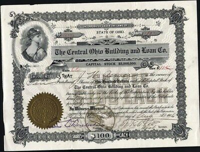 Central Ohio Building And Loan Co, Columbus, Ohio, 1906, Uncancelled Stock Cft.
