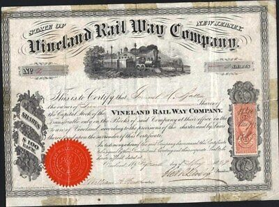 Vineland Rail Way Co, New Jersey, 1869, Printed Rev. Stamp Affixed