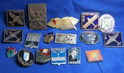 WWII to 1990s Russian USSR Soviet Eastern Block Insignia Pins Lot Of 17