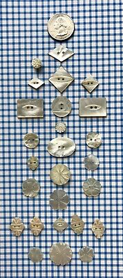 Lot of 26 Antique Carved & not RARE MOP Mother of Pearl Buttons Most Different