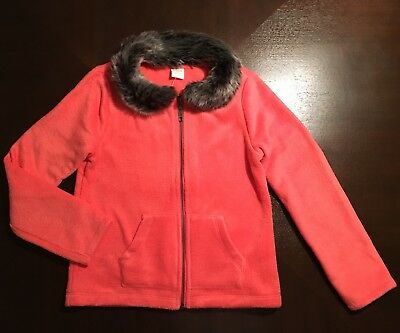 Cute Little Girls L/S Sweater Cardigan. Gymboree Size M (7/8) Coral Faux Fur NEW