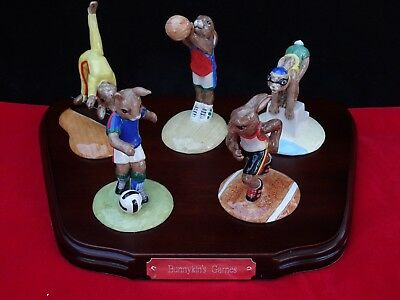 "Royal Doulton ""bunnykins Games Collection"" W/ Display Stand Complete Set Of (5)"