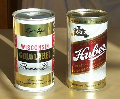 *Clean* Lot of (2) Huber & Wisconsin Gold Label Flat Top Beer Cans (Wisconsin)