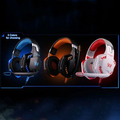 EACH G2000 Game Gaming Headset 3.5mm LED Stereo PC Headphone Microphone LOT AQ