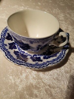 FLOW BLUE Johnson Brothers NORMANDY pattern Single Cup & Saucer, late 1800's