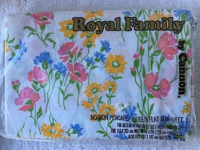Vintage Cannon Royal Family No Iron Percale Queen Flat Sheet Flowers Floral