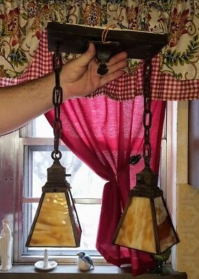 Antique Mission Arts And Crafts Hanging Light Fixture Old Slag Glass
