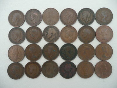 Lot of 24 Half Penny Coins of Great Britain - mix of reigns