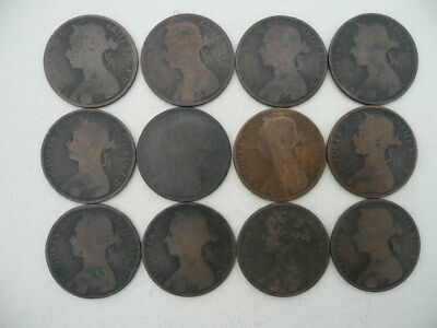 Lot of 12 Queen Victoria One Penny Coins of Great Britain - Bun Type - pre 1895