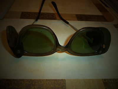 Old Vintage green Safety Welding Goggles Glasses, Motorcycle, Steampunk .