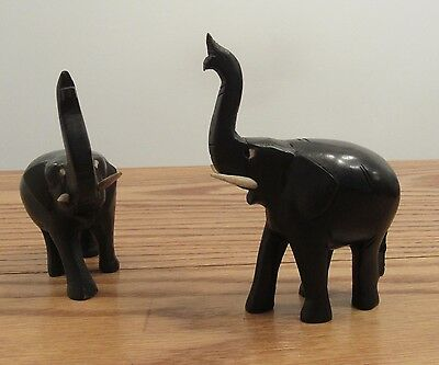 "Pair/2 vintage hand carved Tanzania Pex ebony wood elephants 4"" raised trunks"