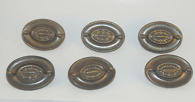 6 Vintage Hepplewhite style Pulls Brass or Brass plated