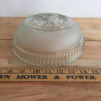Vintage Cut Glass light fixture shade globe clear and frosted ceiling fixture