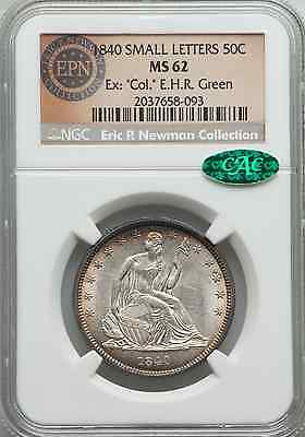 """1840 LIBERTY SEATED HALF NGC MS-62 Small Letters - Ex """"Col"""" EHR Green CAC - KXKX"""
