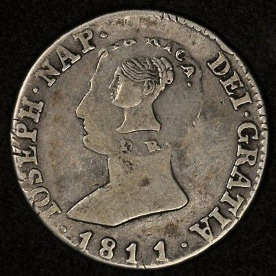 (1845) Costa Rica Type Iii Counterstamp On Spain 4 Reales 1811 Woman/tree Km-40