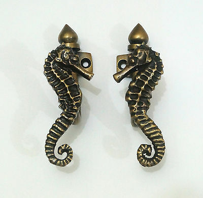 2 pcs Vintage Sea Horse Solid Brass Hat Coat Strong Wall Mount HOOK Hanger