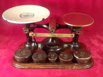 Antique 19th Cty FAIRBANKS # 2 Cast Iron Brass Balance Scale Orig Porcelain Tray
