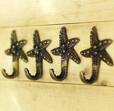 Set of 4 pcs Vintage Starfish Solid Brass Hat Coat Wall Mount HOOK