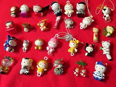 Huge Lot of 28 Vtg Hello Kitty Charms Cell Phone Jewelry Sanrio 1976-00, thru'05