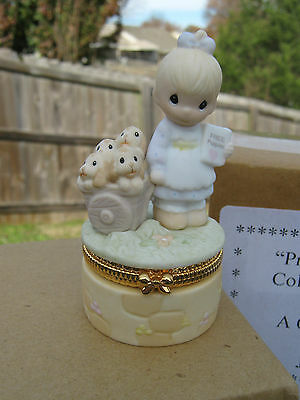 "Precious Moments Hinged Trinket Box  ""God Loveth a Cheerful Giver"" NEW 1998"