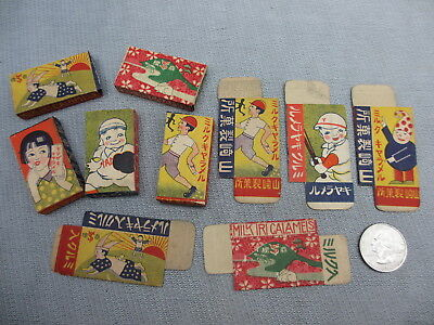 9 Different Scenes Japanese Candy Boxes Pre WWII Kids Baseball Rabbit