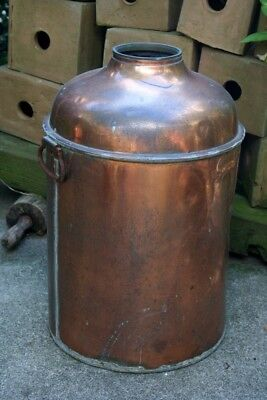 Antique USA Copper Still Whiskey Pot Boiler Threaded Moonshine Brewerina Country