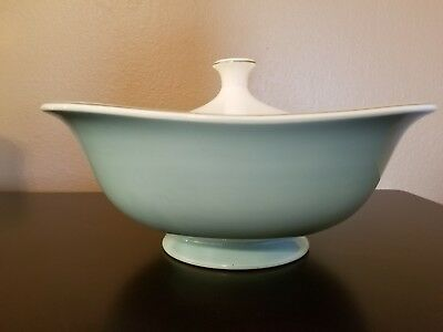 """Taylor Smith Taylor """"Blue Lace"""" Covered Vegetable Footed Bowl Vintage"""