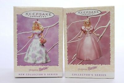 Lot of 2 New Vintage Hallmark Springtime Barbie Keepsake Ornaments