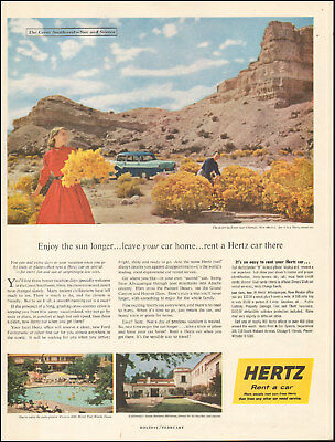1950's Vintage ad for HERTZ rent a car Chimayo, New Mexico Photo     091217