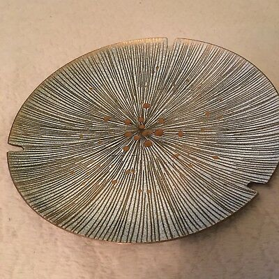 "Vintage Enamel On Copper 9"" Plate Ashtray Mid Century Modern Signed  Jaffy"