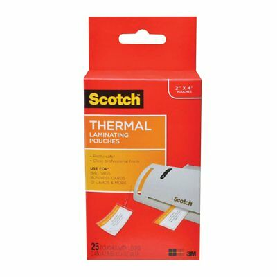 Scotch Thermal Laminating Pouches 25 Pouches Luggage Tag Size With Loop 1 Pk New