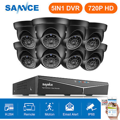 SANNCE 8CH 1080P HDMI DVR 1500TVL Outdoor 720P Night CCTV Security Camera System