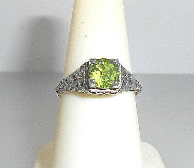 Gorgeous Antique-look Filigree PERIDOT Solitaire Sterling Silver .925 Ring  sz 7