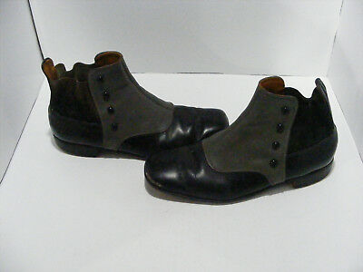 Geo J. Cox England Mens Vintage Button Boots 2-Tone Leather Shoes Victorian