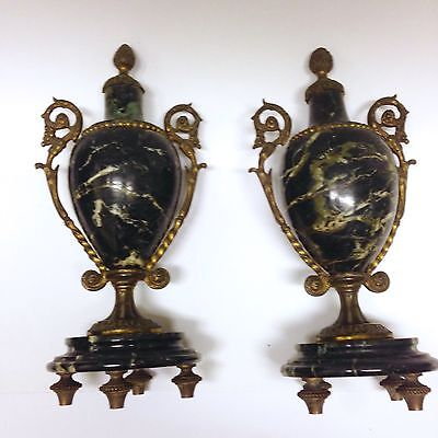 """Pair 19th C. French 9"""" Neoclassical Gilt Bronze Marble Vein Urns c.1890 antique"""