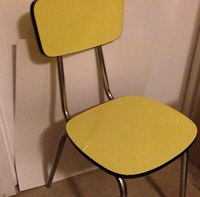 Excellent Vintage 1950s Atomic Kitchen Side Chair Yellow Formica & Chrome MCM