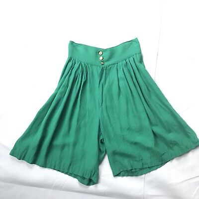 Vtg 70s Teal Green Culotte shorts Small Button Up High Waisted wide leg