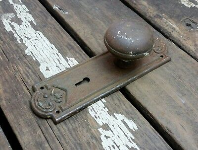 VTG Antique Old SHABBY Door Knob & Metal FANCY Rustic Backplate Cover Hardware-