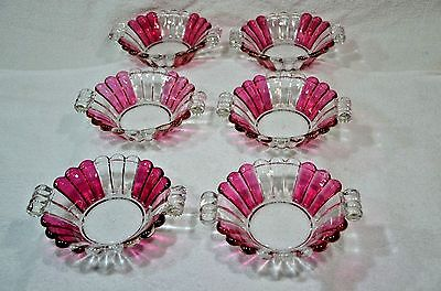 RARE! QTY 6 Heisey Crystolite Ribbed Cranberry or Ruby Stain HANDELED BOWLS 7""