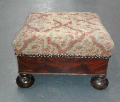 "Footstool American Empire Revival Crotch Mahogany 12"" x 12"" Mid 1800s"