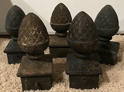 Vintage Cast Iron Fence Post Finials Lot of 5 (B 6657)