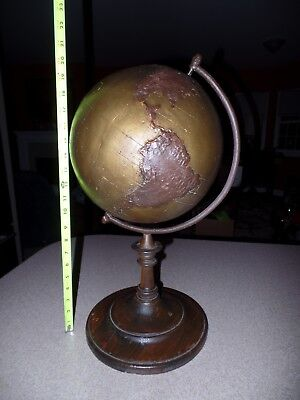 RARE Antique c.1900 TOPOGRAPHIC WORLD GLOBE on OLD Wood & Metal Stand SUPERB!
