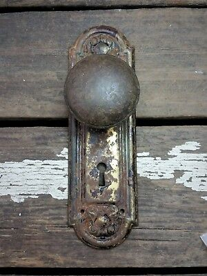 VTG Antique Old SHABBY Door Knob & Metal FANCY Rustic Backplate Cover Hardware**