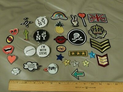 Steve Madden (Flash!) LOT of 31 ~Patches & Pins~ UK_NY_PEACE_STARS_RAINBOW_+