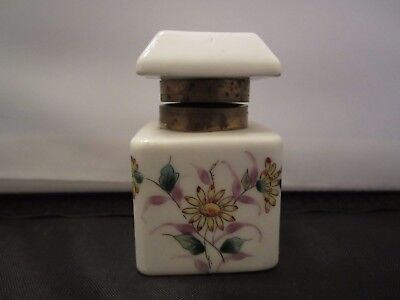 Porcelain Inkwell Brass Hinged Collar  Square Shape Lavender & Green Floral