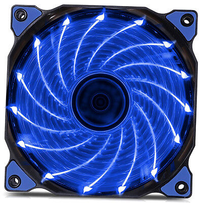 120mm LED Ultra Silent Computer PC Case Fan 15 LEDs 12V Easy Installed AQ