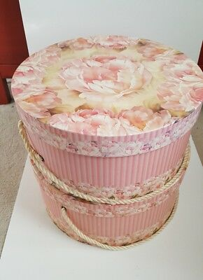 "Vintage Hat Box Round Pink Rose & Stripes Floral. Set (2) 7"" x 14 and 6 x 13"""