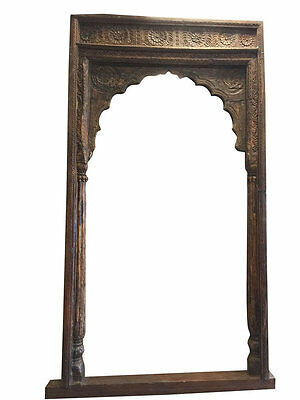 Antique Arch Mehrab Doorway Haveli Arches Floral Hand Carved Architectural 18C