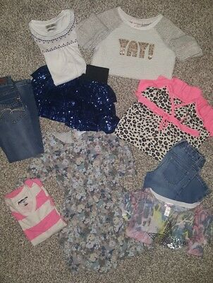 GIRLS CLOTHING SZ 6/7 Small 9 PC Lot JUSTICE, LUCKY, CAT & JACK,CHILDRENS PLACE