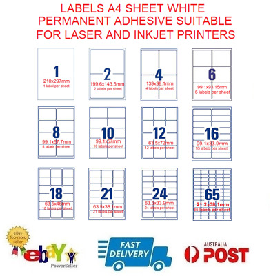 Self Adhesive Labels Inkjet Laser Sticker A4 Mailing Address 1-65 per sheet